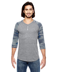 Alternative Men's Eco Jersey Triblend 3/4-Sleeve Raglan Henley Fashion T-Shirt
