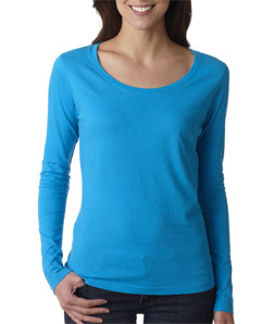 Anvil Ladies' Sheer Long-Sleeve Scoop Neck Tee
