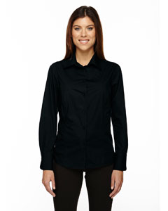Ash City - North End Ladies' Luster Wrinkle-Resistant Cotton Blend Poplin Taped Shirt