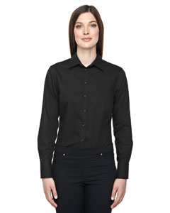 Ash City - North End Sport Blue Ladies' Boulevard Wrinkle-Free Two-Ply 80's Cotton Dobby Taped Shirt