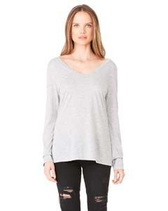 Bella + Canvas Ladies' Long-Sleeve Flowy V-Neck
