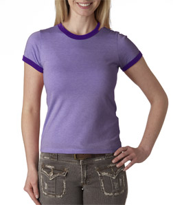 Bella Ladies' Heather Short-Sleeve Jersey Ringer T-Shirt
