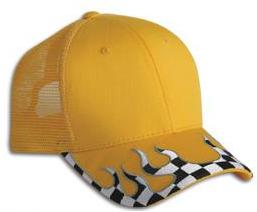 Checkered Flame Brim Mesh Trucker's Cap