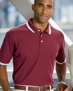 Chestnut Hill Men's Tipped Performance Plus Piqu Polo