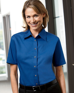 Harriton Ladies' Short-Sleeve Twill Shirt with Stain-Release