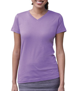 LA T Ladies V-Neck Longer Length T-Shirt