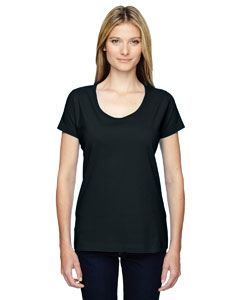 LAT Ladies' Fine Jersey Deep Scoop Neck Longer Length T-Shirt