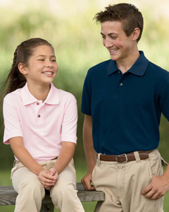 (m200ya) Harriton Youth 6 oz. Ringspun Cotton Piqué Short-Sleeve Polo