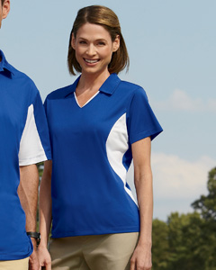 (m355wa) Harriton Ladies' Side Blocked Micro-Pique Polo