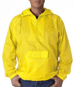 UltraClub Adult 1/4-Zip Hooded Pullover Pack-Away Jacket