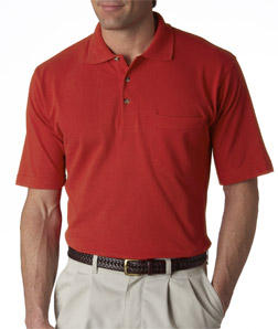 UltraClub Adult Classic Pique Polo with Pocket