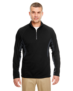 UltraClub Adult Cool & Dry Color Block Dimple Mesh 1/4-Zip Pullover