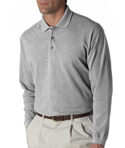 UltraClub Adult Long-Sleeve Classic Pique Polo