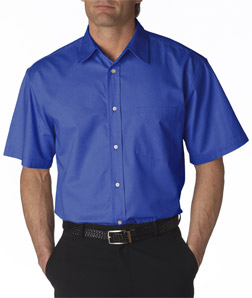 UltraClub Adult Whisper Twill Short-Sleeve Shirt