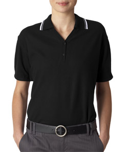 UltraClub Ladies Short-Sleeve Whisper Pique Polo with Rib Collar and Cuff Tipping
