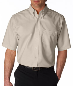 UltraClub Men's Tall Classic Wrinkle-Free Short-Sleeve Oxford